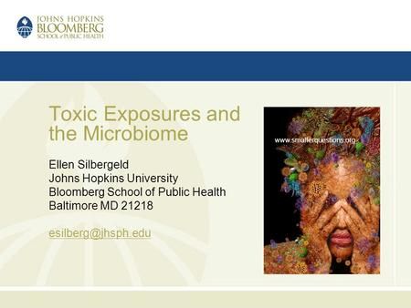 Toxic Exposures and the Microbiome Ellen Silbergeld Johns Hopkins University Bloomberg School of Public Health Baltimore MD 21218