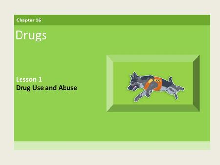 Chapter 16 Drugs Lesson 1 Drug Use and Abuse. Building Vocabulary illegal drugs Drugs that are made and used purely for their effects drug misuse Taking.