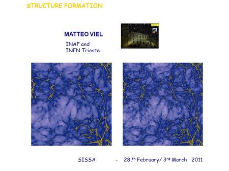 MATTEO VIEL STRUCTURE FORMATION INAF and INFN Trieste SISSA - 28, th February/ 3 rd March 2011.