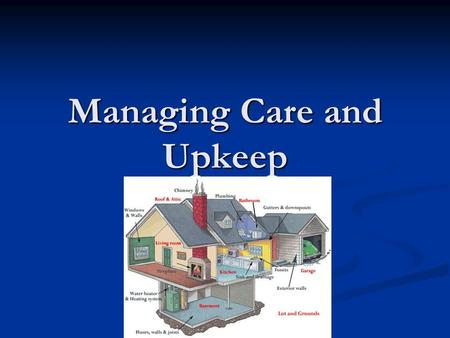 Managing Care and Upkeep. Saving Money Caring for possessions makes them last longer and stay in better condition Caring for possessions makes them last.