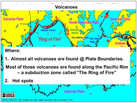 "Where: 1. Almost all volcanoes are Plate Boundaries. Most of those volcanoes are found along the Pacific Rim – a subduction zone called ""The Ring."