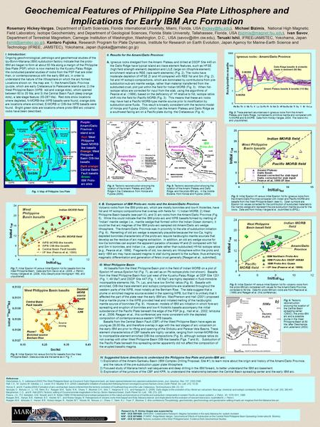 Geochemical Features of Philippine Sea Plate Lithosphere and Implications for Early IBM Arc Formation. Rosemary Hickey-Vargas, Department of Earth Sciences,