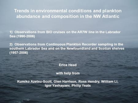 Trends in environmental conditions and plankton abundance and composition in the NW Atlantic 1) Observations from BIO cruises on the AR7W line in the Labrador.