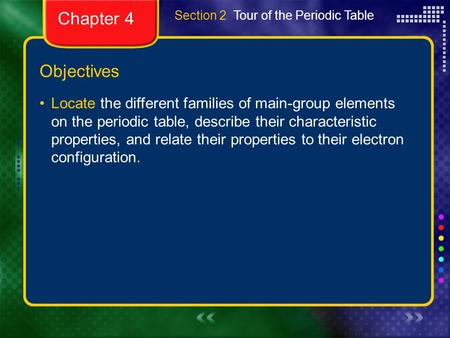 Chapter 4 Section 2  Tour of the Periodic Table Objectives