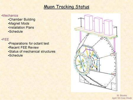 M. Brooks April '00 Core Week Muon Tracking Status Mechanics Chamber Building Magnet Mods Installation Plans Schedule FEE Preparations for octant test.