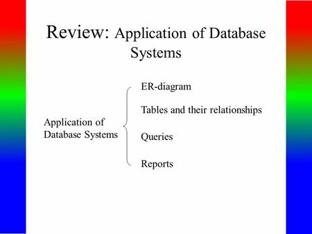 Review: Application of Database Systems