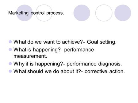 Marketing control process. What do we want to achieve?- Goal setting. What is happening?- performance measurement. Why it is happening?- performance diagnosis.