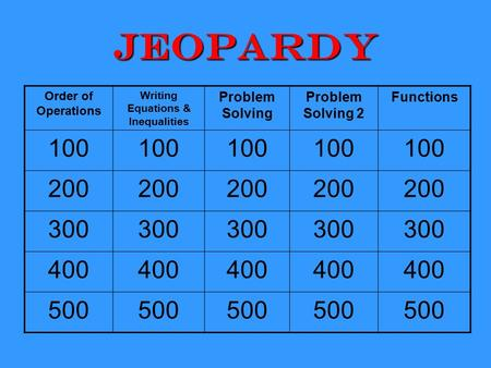 Jeopardy Order of Operations Writing Equations & Inequalities Problem Solving Problem Solving 2 Functions 100 200 300 400 500.