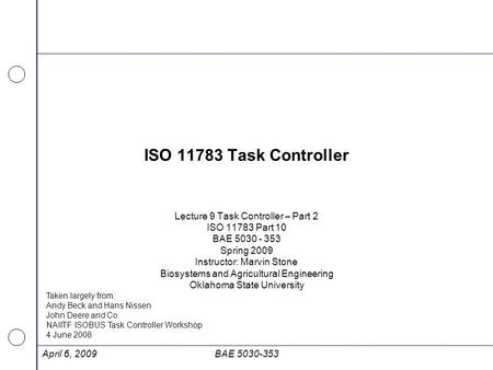 ISO Task Controller Lecture 9 Task Controller – Part 2