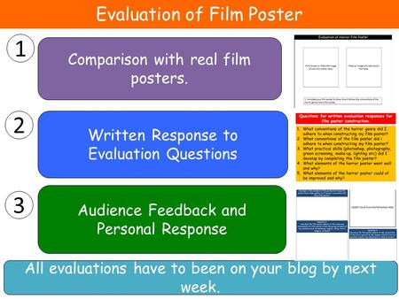 Evaluation of Film Poster 1 Audience Feedback and Personal Response 2 Written Response to Evaluation Questions 3 Comparison with real film posters. All.
