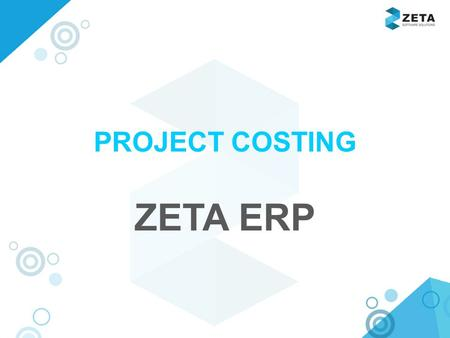 Www.zetasoftwares.com PROJECT COSTING ZETA ERP. www.zetasoftwares.com FLOW PANEL.