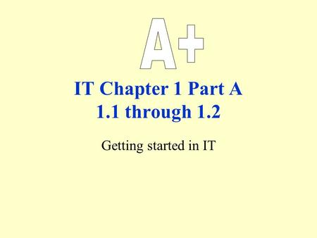 IT Chapter 1 Part A 1.1 through 1.2 Getting started in IT.