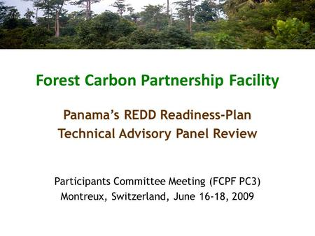 Forest Carbon Partnership Facility Participants Committee Meeting (FCPF PC3) Montreux, Switzerland, June 16-18, 2009 Panama's REDD Readiness-Plan Technical.