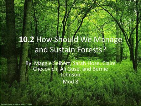 10.2 How Should We Manage and Sustain Forests? By: Maggie Seibert, Sarah Hose, Claire Checovich, Ali Guse, and Bernie Johnson Mod 8.