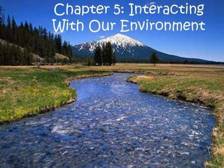 Chapter 5: Interacting With Our Environment. Section 1: Natural Resources.