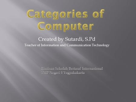 Created by Sutardi, S.Pd Teacher of Information and Communication Technology.