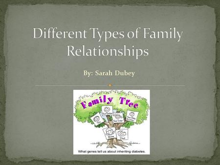 "By: Sarah Dubey. Most people have ""extended families."" 1. A family group that consists of parents, children, and other close relatives, often living in."