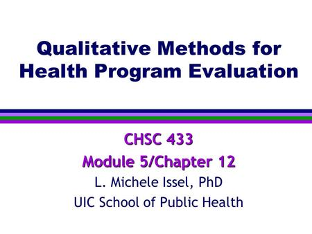 Qualitative Methods for Health Program Evaluation
