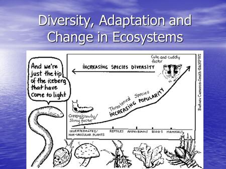 Diversity, Adaptation and Change in Ecosystems. Biodiversity and Classification Scientists estimate that there are between 2 and 4.5 million different.