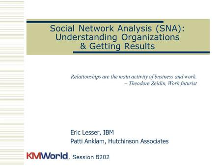 Social Network Analysis (SNA): Understanding Organizations & Getting Results Eric Lesser, IBM Patti Anklam, Hutchinson Associates Relationships are the.