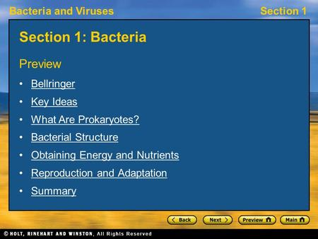 Bacteria and VirusesSection 1 Section 1: Bacteria Preview Bellringer Key Ideas What Are Prokaryotes? Bacterial Structure Obtaining Energy and Nutrients.