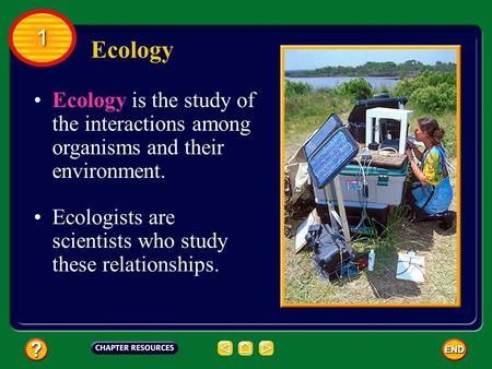 Ecology is the study of the interactions among organisms and their environment. Ecologists are scientists who study these relationships. Ecology 1 1.