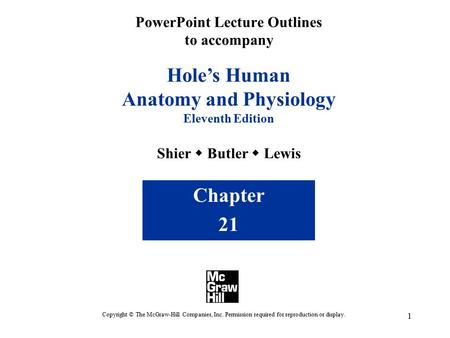 1 PowerPoint Lecture Outlines to accompany Hole's Human Anatomy and Physiology Eleventh Edition Shier  Butler  Lewis Chapter 21 Copyright © The McGraw-Hill.