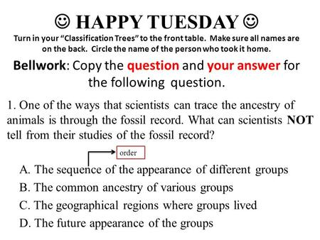 A. The sequence of the appearance of different groups B. The common ancestry of various groups C. The geographical regions where groups lived D. The future.