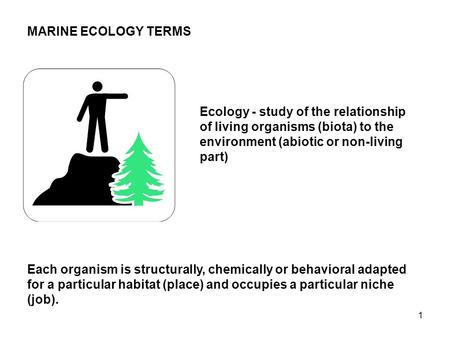 1 MARINE ECOLOGY TERMS Ecology - study of the relationship of living organisms (biota) to the environment (abiotic or non-living part) Each organism is.