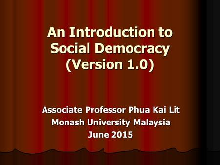 An Introduction to Social Democracy (Version 1.0)