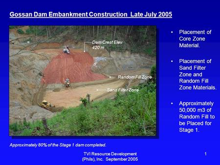 TVI Resource Development (Phils), Inc. September 2005 1 Gossan Dam Embankment Construction Late July 2005 Placement of Core Zone Material. Placement of.