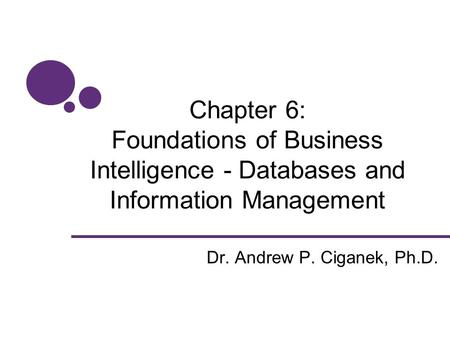 Chapter 6: Foundations of Business Intelligence - Databases and Information Management Dr. Andrew P. Ciganek, Ph.D.