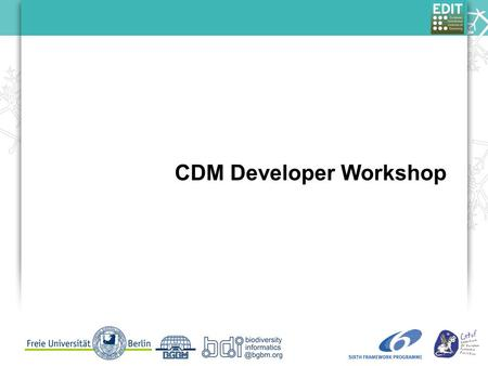 CDM Developer Workshop. TDWG 2009 - Andreas Kohlbecker Taxonomic Workflow in the EDIT Platform for Cybertaxonomy Purpose What do you want from this workshop?