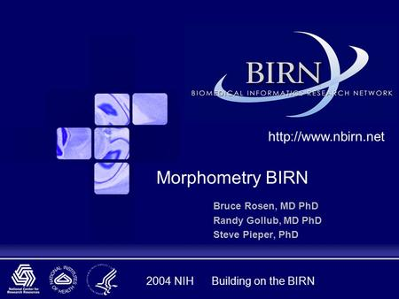 2004 NIH Building on the BIRN Bruce Rosen, MD PhD Randy Gollub, MD PhD Steve Pieper, PhD  Morphometry BIRN.