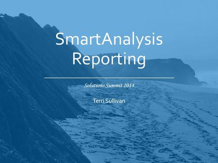 Solutions Summit 2014 SmartAnalysis Reporting Terri Sullivan.
