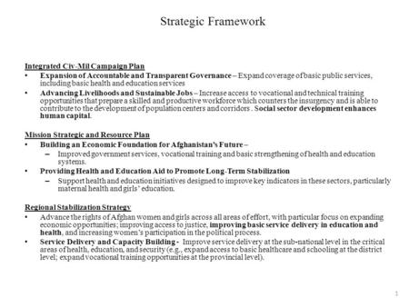 Strategic Framework Integrated Civ-Mil Campaign Plan Expansion of Accountable and Transparent Governance – Expand coverage of basic public services, including.