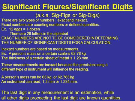 Significant Figures/Significant Digits