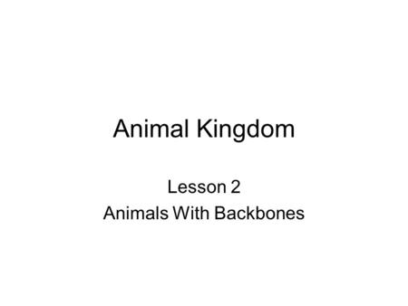 Animal Kingdom Lesson 2 Animals With Backbones. What are vertebrates? Animal with a backbone is called a vertebrate. The backbone is part of the endoskeleton.