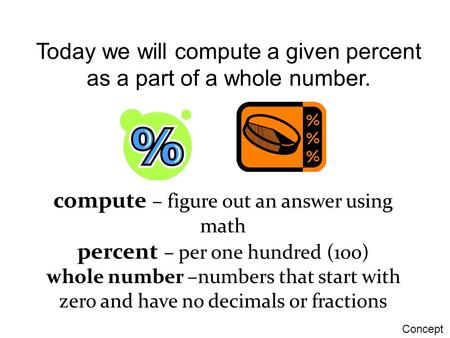 Today we will compute a given percent as a part of a whole number.