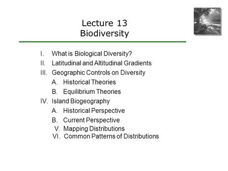 Lecture 13 Biodiversity I.What is Biological Diversity? II.Latitudinal and Altitudinal Gradients III.Geographic Controls on Diversity A.Historical Theories.