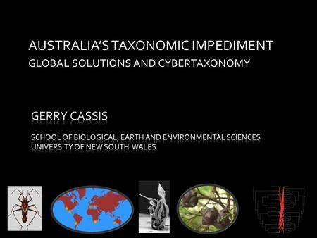 AUSTRALIA'S TAXONOMIC IMPEDIMENT GLOBAL SOLUTIONS AND CYBERTAXONOMY.