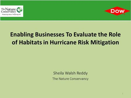 Sheila Walsh Reddy The Nature Conservancy 1 Enabling Businesses To Evaluate the Role of Habitats in Hurricane Risk Mitigation.