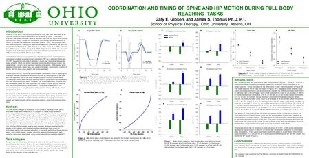 COORDINATION AND TIMING OF SPINE AND HIP MOTION DURING FULL BODY REACHING TASKS Gary E. Gibson, and James S. Thomas Ph.D, P.T. School of Physical Therapy,