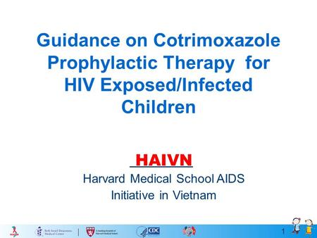 1 Guidance on Cotrimoxazole Prophylactic Therapy for HIV Exposed/Infected Children HAIVN Harvard Medical School AIDS Initiative in Vietnam.