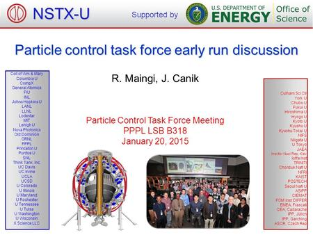Particle control task force early run discussion R. Maingi, J. Canik Particle Control Task Force Meeting PPPL LSB B318 January 20, 2015 NSTX-U Supported.