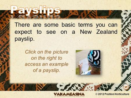 © 2012 Fruition Horticulture There are some basic terms you can expect to see on a New Zealand payslip. Click on the picture on the right to access an.