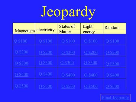 Jeopardy Magnetism electricity States of Matter Light energy Random Q $100 Q $200 Q $300 Q $400 Q $500 Q $100 Q $200 Q $300 Q $400 Q $500 Final Jeopardy.