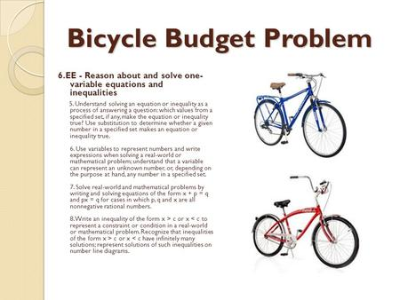 Bicycle Budget Problem