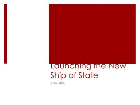 Launching the New Ship of State 1789-1800. Growing Pains American Growth.