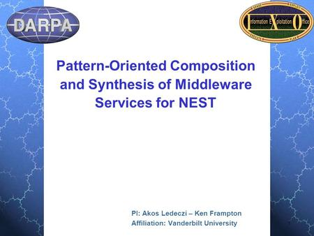 1 Pattern-Oriented Composition and Synthesis of Middleware Services for NEST PI: Akos Ledeczi – Ken Frampton Affiliation: Vanderbilt University.